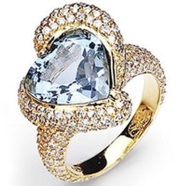 8.49 Carat Ladies Blue Topaz Heart & Pave' Diamond Ring GIA VS2-SI1 clarity G-H color 18k