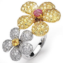 5.57 Carat Ladies Flower Yellow and Pink Sapphire Ring GIA VS2-SI1 clarity G-H color 18k #R41661