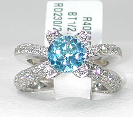 4.88 Carat Ladies Round Blue Topaz & Diamond Wide Band Ring 18k GIA VS2-SI1 clarity G-H color #R40305