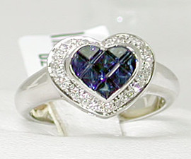 0.98 Carat Young Ladies | Sweet Sixteen Invisibly Set Princess Cut Sapphire & White Diamond - 18K White Gold Heart Ring