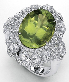9.88 Carat Ladies Large Oval Peridot & Pave' Diamond Ring GIA VS2-SI1 clarity, G-H color 18K