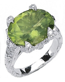 Ladies Large Oval Peridot and Diamond Ring GIA VS2-SI1 clarity GIA G-H color 18K #R46926