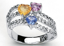 2.74 Carat Ladies Multi Colored Sapphire Heart and Diamond Wide Band Ring GIA VS2-SI1 clarity G-H color 18k #46980