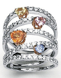 2.39 Carat Ladies Diamond and Multi Color Sapphire Heart Wide Band Ring GIA VS2-SI1 clarity G-H color 18k #R46983