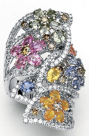 10.09 Carat Ladies Wide Band Chocolate & White Diamond Multiple Colored Sapphire Flower Ring 18K White Gold