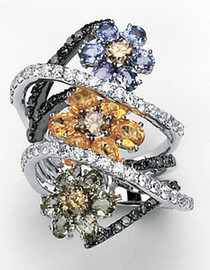 7.65 Carat Ladies Whimsical Colored Sapphire & Diamond Flower Wide Band Ring 18k