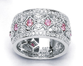 1.45 Carat Ladies Pink Sapphire & Diamond Wide Band Anniversary Ring 18K White Gold