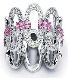 1.85 Carat Ladies Pink Sapphire & Diamond Wide Band Ring 18K White Gold