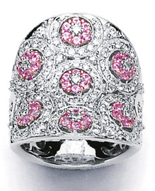 2.25 Carat Ladies Wide Band Pink Sapphire and Diamond Ring GIA VS2-SI1 clarity G-H color 18k #R49113