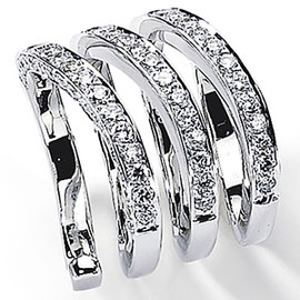 1.71 Carat Ladies White Diamond Wide Band Spring Ring 18K White Gold
