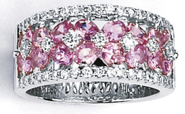 4.46 Carat Ladies Oval Pink Sapphire and Diamond Band GIA VS2-SI1 clarity GIA G-H color 18K #47010L