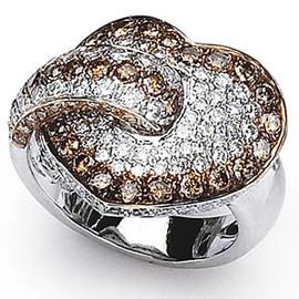 1.74 Carat Ladies White & Chocolate Diamond Heart Ring 18K White Gold