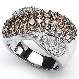 2.08 Carat Ladies Chocolate and White Diamond Wide Band Ring GIA VS2-SI1 clarity G-H color 18k #R39737