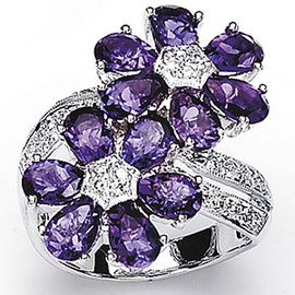 4.92 Carat Ladies Amethyst and Diamond Flower Ring 18k GIA VS2-SI1 clarity G-H color #R41665