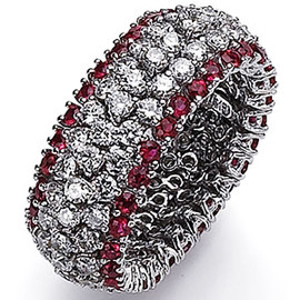 6.11 Carat Ladies Pave' Ruby & Diamond Flexible Wide Band Eternity | Anniversary | Articulated Wedding Ring 18k