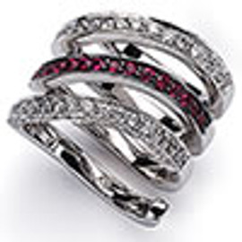 1.69 Carat Ladies Diamond & Wide Band Ruby Ring 18K White Gold
