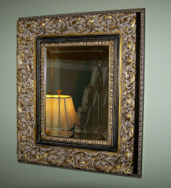 "French Renaissance Louis Treize Flourish - Traditional Drama Bevel Mirror, Antiqued Gold, Black, and Grey, Medium 35""t x 31""w - Wide 5.75"" Carved Frame, 6620"