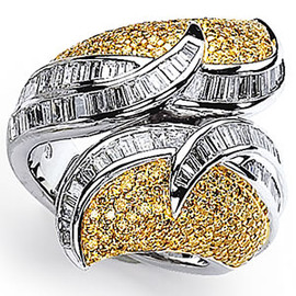 3.06 carat Ladies Yellow and White Colored Diamond Ring GIA VS2-SI1 clarity GIA G-H color 18k #R40865