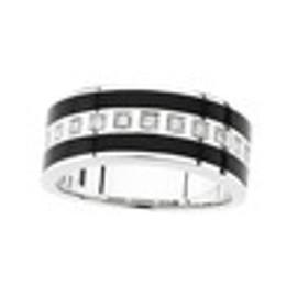 Men's Inset Black Onyx & Diamond Wedding Band Ring 14K White Gold