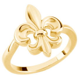 14k Yellow Gold Ladies Fleur de Lis jewelry Ring