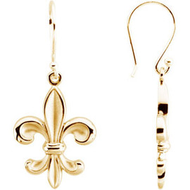 14K Yellow Gold Fleur de Lis Ladies Articulated Dangle Earrings