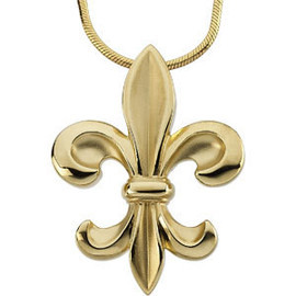 14k Yellow Gold Ladies Fleur De Lis jewelry Pendant
