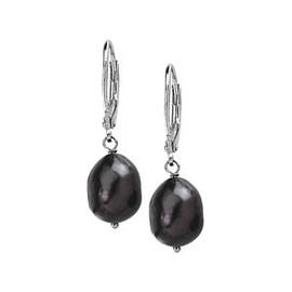 Black Freshwater Cultured Baroque Pearl Sterling Silver Dangle Earrings