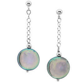 Black Freshwater Cultured Coin Pearl & Sterling Silver Dangle Earrings