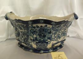 Lyvrich Fine Handcrafted Porcelain - Flower Pot Planter, Centerpiece - Blue Floral and Crackle Antique White - 11t X 19w X 13d