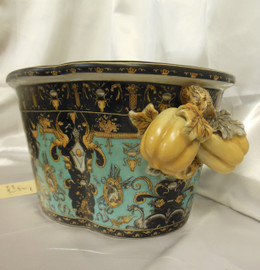 Lyvrich Fine Handcrafted Porcelain - Flower Pot Planter, Pomegranate Centerpiece - Crested Black, Turquoise, Gold - 7.25t X 17w X 12d
