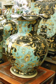 Lyvrich Fine Handcrafted Porcelain - Scalloped Rim Mantel Vase - Crested Black, Turquoise, Gold - 13.5t X 9.5w X 9.5d