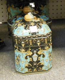 Lyvrich Fine Handcrafted Porcelain - Octagonal Cookie, Treat Jar - Crested Black, Turquoise, Gold - 9.5t X 6w X 6d
