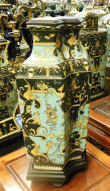 Lyvrich Fine Handcrafted Porcelain - Shallow, Exceptionnelle Mantel Vase - Crested Black, Turquoise, Gold - 16.5t X 9w X 5.5d