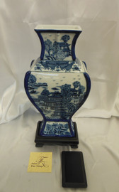 Lyvrich Outstanding Handcraft Porcelain - Shallow Elliptique Mantel Vase - Indigo Blue and Solid White Pagoda Theme - 16.5t X 7.5w X 4.5d