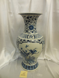 Lyvrich Fine Handmade Porcelain Vase - Blue and White - Bleu et Blanc Chinoiserie Floral Scroll - Large 24t X 12w X 12d