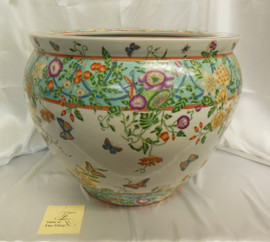 Lyvrich Fine Handcrafted Superlative Porcelain - Size 16 Fishbowl, Flower Pot Planter - Springtime- 13.5t X 17dia.