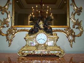 "Gilt Brass Ormolu - 16.92"" Hand Painted Porcelain Mantel, Table Clock - Gold Parcel Gilt Finish with Franz Hermle Quartz Movement - Handmade Reproduction of a 17th, 18th Century Dore Bronze Antique, 6169"