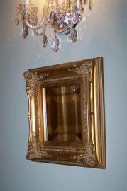 """#Louis Quinze French Rococo, Louis XV 4"""" Wide G429 Gold Frame, Small 17.25""""t X 15""""w Drama Bevel Traditional Mirror, 6596"""