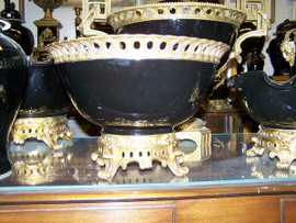 Lyvrich - Luxury Hand Painted Reproduction Porcelain and Gilt Bronze Ormolu - 12 Inch Statement, Centerpiece Bowl - Solid Black
