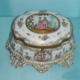 Fine French Luxury Hand Painted Reproduction Sevres Porcelain and Gilt Bronze Ormolu - 12.75 Inch Decorative Box