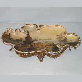Fine French Luxury Hand Painted Reproduction Sevres Porcelain and Gilt Bronze Ormolu - 20.5 Inch Display Tray