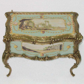 Fine French Luxury Hand Painted Reproduction Sevres Porcelain and Gilt Bronze Ormolu - 16 Inch Decorative Box