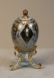 Fine French Luxury Hand Painted Reproduction Sevres Porcelain - 6.5 Inch Decorative Egg