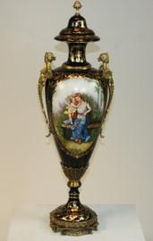 L'enfant d'avoir de Femme - Fine French Luxury Hand Painted Reproduction Sevres Porcelain and Gilt Bronze Ormolu - 31 Inch Palace Urn