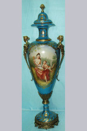 La Femme Avec L'enfant - Fine French Luxury Hand Painted Reproduction Sevres Porcelain and Gilt Bronze Ormolu - 31 Inch Palace Urn