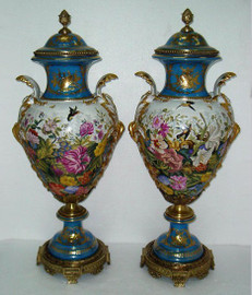 Les Oiseaux-Mouches dans le Jardin - Fine French Luxury Hand Painted Reproduction Sevres Porcelain and Gilt Bronze Ormolu - 36 Inch Palace Urns - Set of Two
