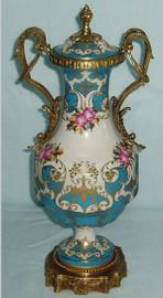 Les Fleurs Roses et Bleu Doux - Fine French Luxury Hand Painted Reproduction Sevres Porcelain and Gilt Bronze Ormolu - 14 Inch Mantel Jar