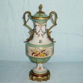Les Fleurs et Doux Vert - Fine French Luxury Hand Painted Reproduction Sevres Porcelain and Gilt Bronze Ormolu - 14 Inch Mantel Jar