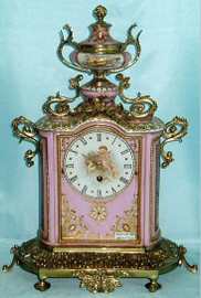Putto en Rose - Fine French Luxury Hand Painted Reproduction Sevres Porcelain and Gilt Bronze Ormolu - 16 Inch Tabletop, Mantel Clock