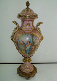 La Femme en Rose - Fine French Luxury Hand Painted Reproduction Sevres Porcelain and Gilt Bronze Ormolu - 36 Inch Palace Urn